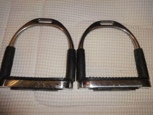 "QUALCRAFT Flexible Stirrups - SS - 4 3/4"" - GREAT!  English/Dressage Flex-"