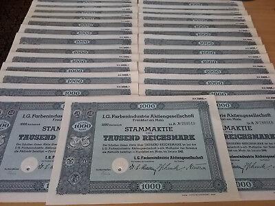 Aufgepasst! Lot von 270 Stammaktien der IG Farben AG von 1942, Nennwert 1000 RM