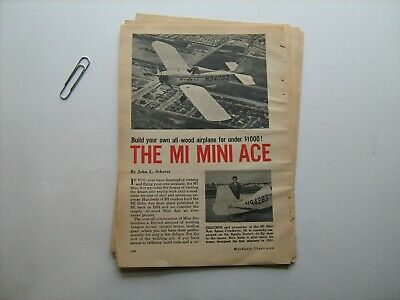 """Mechanix Illustrated """"Mini-Ace"""" airplane plans w/specs, photos, drawings, source"""