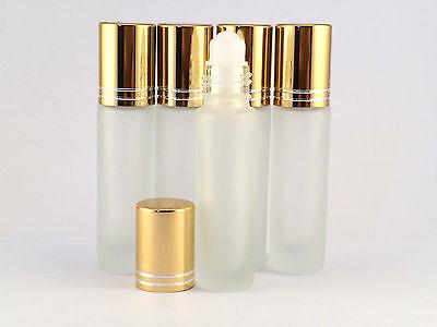 EMPTY ROLL ON BOTTLE SET 5 X 10ML REFILLABLE , ROLLER bottle, FROSTED GLASS trav