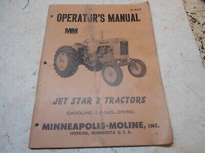 Minneapolis Moline Operators Manual Jet Star 2 Gas Lp Diesel Tractors 5-342