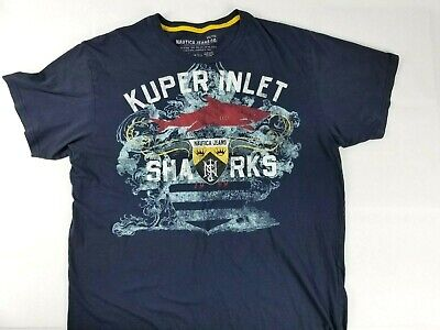 Nautica Jeans Mens XXL Blue Spell Out Kuper Inlet Sharks Graphic T Shirt EUC
