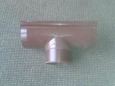 Ablaufstutzen DN 125/100, Dunkelbraun halbrund Kunststoff für Dachrinne Rehau