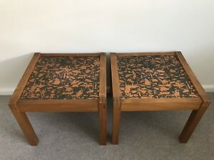 Retro vintage Copper & Timber coffee tables / bedside tables.