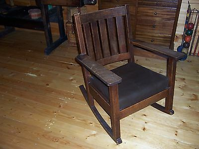 Antique Mission Oak Stickley Rocker Rocking Chair Original Finish