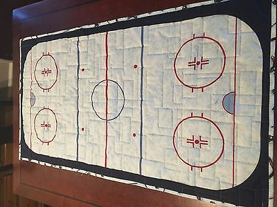 Ice hockey  table Runner. 23 X 42. Cotton. Quilted.