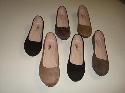 New Women Cute Casual Comfort Slip on Round Toe Ballet Flat Suede Shoes Co black ()