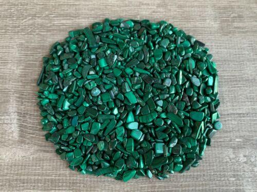 Grade A++ Malachite Semi Tumbled Gemstone Mini Chips 3 -12mm, Wholesale Bulk Lot