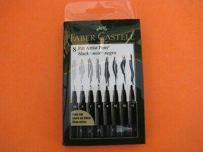 Brand New - Faber Castell Pitt Artist Pens, Black India Ink, 8 Piece Set