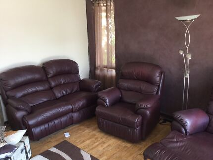 Leather 3 Piece recliner suite and furniture. Warnbro Rockingham Area Preview