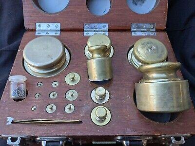 Vintage 18 Piece Calibration Brass Scale Weight Set 1g to 500g 1kg 2kg 5kg D1163