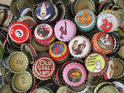 "190 ""Uncrimped"" colorful bottle crown caps for Crafts or home-brewed beer/soda"