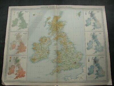 ORIGINAL 1922 BRITISH ISLES MAP,THE TIMES ATLAS 1922,J.G.BARTHOLOMEW,EDINBURHGH,