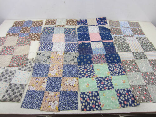 21 Vintage Machine Sewn Quilt Squares 9 Patch   QS#6
