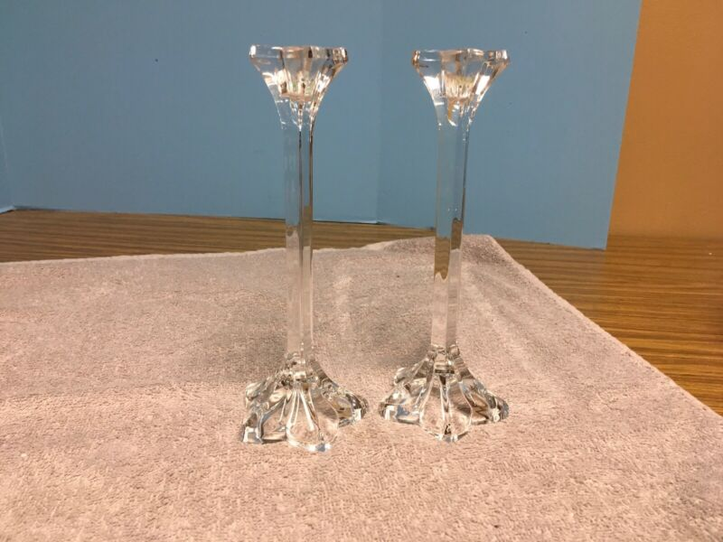 "Vintage Pair 9"" Crystal Beautiful Mid-Century Glass Candlesticks"