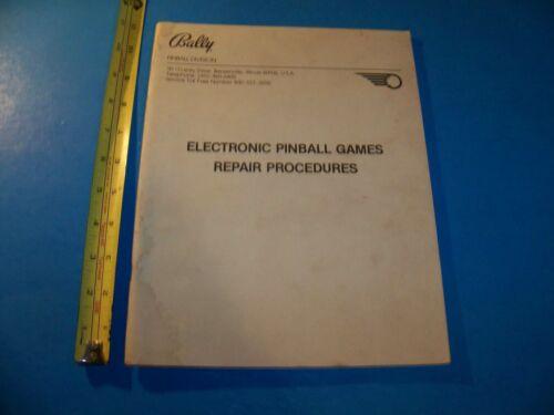 Electronic Pinball Games Repair Procedures Book Bally Pinball Division  1980