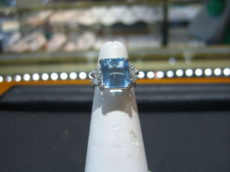 Estate Vintage Womens Platinum Diamond And Blue Topaz Ring 4.75 Carats Size 6.0