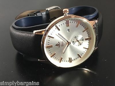 Men's Slim Calendar Analog Dial Quartz Silver Gold Watch Leather Strap - US