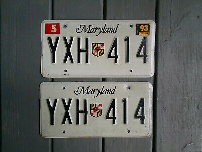 SHIELD1993 MD MARYLAND LICENSE PLATES  PAIR YXH 414
