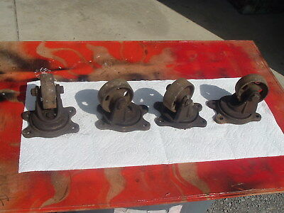 4 Antique Service Caster Albion Mich Pat: 1917 Cast Iron Caster Wheels