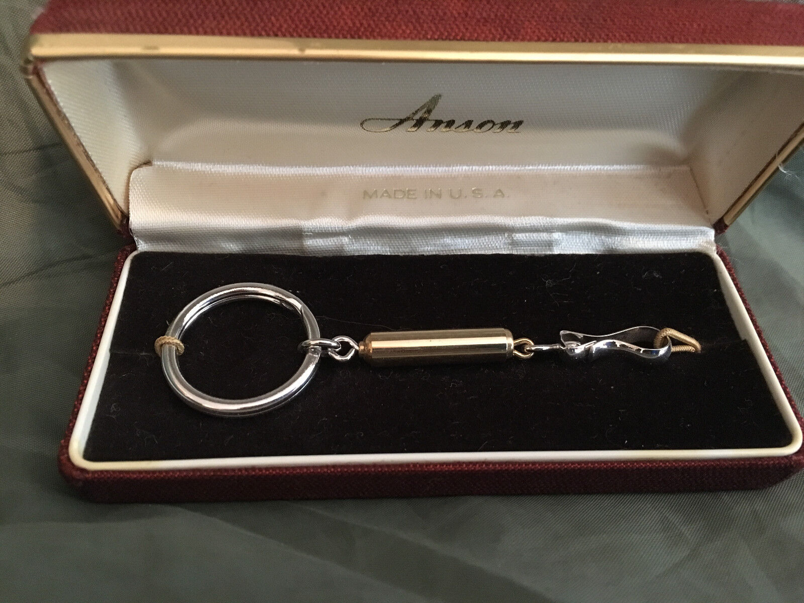 Vintage Keychain Silver with Gold Round Barrel Keyring NOS Anson