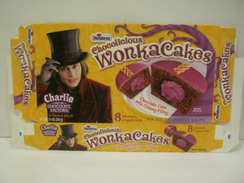 Hostess WONKA CAKES - Johnny Depp - Charlie and the Chocolate Factory - Flat Box
