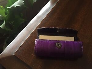 Purple Eel Skin Lipstick Holder with mirror