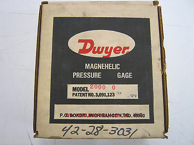 Dwyer 2000-0 Magnehelic Pressure Gage 0-0.50 Inches Of Water 15psig Max