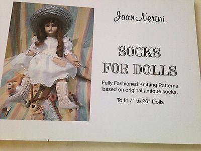 "Socks For  Antique Dolls Knitting Patterns  instruction book Dolls 7""-26"""