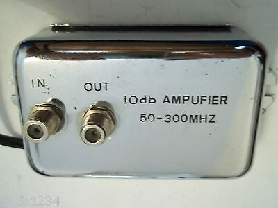 VINTAGE VIDEO SIGNAL 10db AMPLIFIER 50-300 MHZ w IN OUT CABLE CONNECTIONS (Out Video Signal Amplifier)