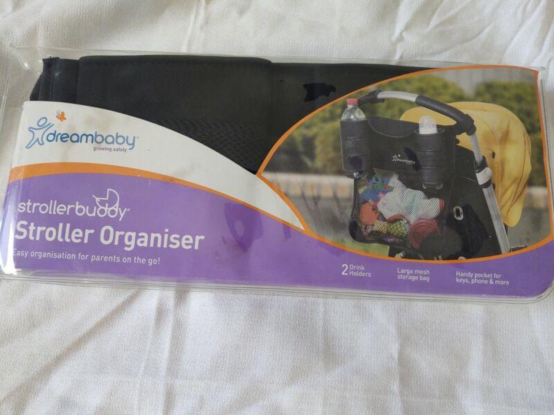 Stroller Organizer Dreambaby 2 Drink Holders Large Mesh Storage Bag New
