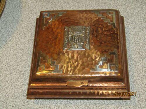 VINTAGE HAMMERED COPPER & SILVER AZTEC DECOR BOX STUNNING FOLK ART