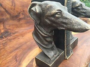 BOOKENDS PAIR OF VINTAGE GREYHOUND WHIPPET ART DECO  BRONZE CAST