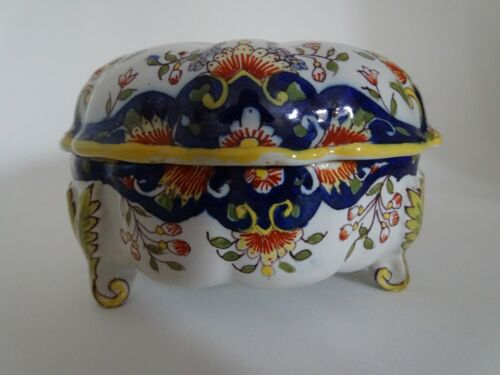 VINTAGE BOX FRENCH FAIENCE DESVRES ROUEN 19 TH CENTURY