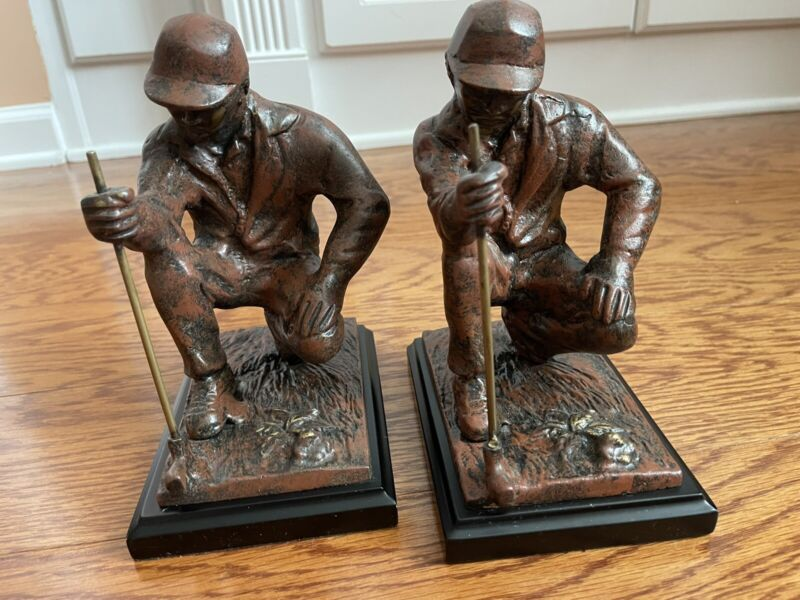 Pair Of Brass Metal Golfer Bookends Colored Finish ~8x6x4