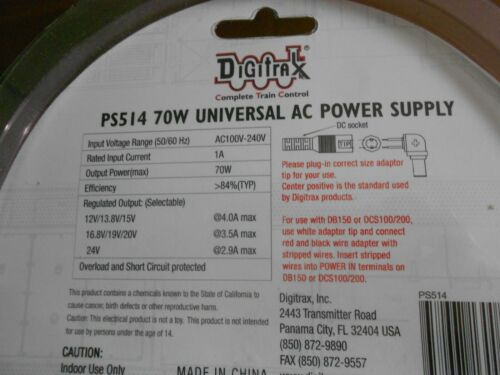 Digitrax, PS514 70W Universal AC power Supply