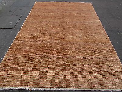 Used, Traditional Hand Made Afghan Gabbeh Wool Gold Stripy Modern Carpet 293x203cm for sale  Shipping to Ireland