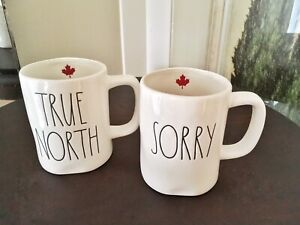 Rae Dunn RARE and Coveted TRUE NORTH AND SORRY SET OF 2 MUGS