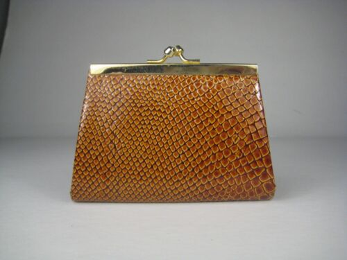 Coin Purse Womens Wallet Leather Brown Vintage Italy Kiss Lock Goldtone