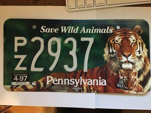 Pennsylvania PA Zoo Tiger Save Wild Animals Conserve Wildlife License Plate 4-97