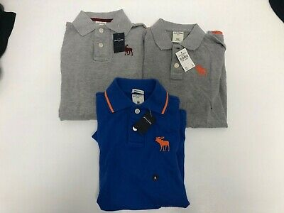 3 x Abercrombie & Fitch Boys Navy Blue Grey Polo Shirts Medium...