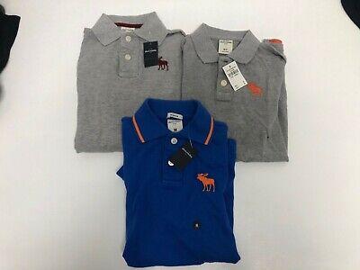 3 x Abercrombie & Fitch Boys Navy Blue Grey Polo Shirts Medium...