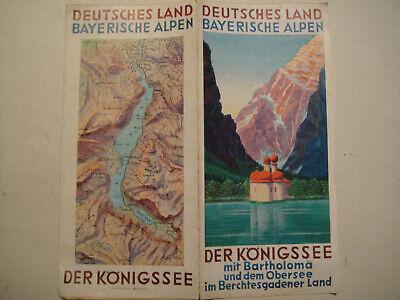 1936 König (Bayerische Alpen Königssee m.Bartholomä + Obersee 1936,Falt-Prospekt m.Fahrplan)