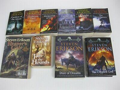 Steven Erikson Lot All 10 Malazan Book of the Fallen Gardens Moon - Crippled God