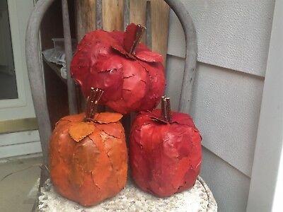 3~Fall Paper Mache Leaf Designed Assorted Color Pumpkins 7