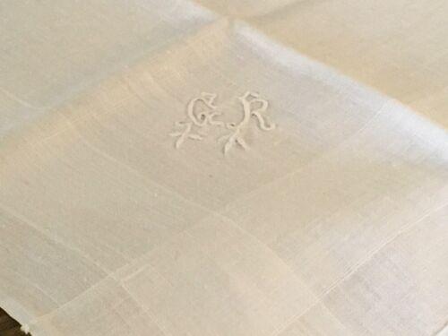 Lovely White French Linen Napkins Handkerchiefs Monogramed Set of Four