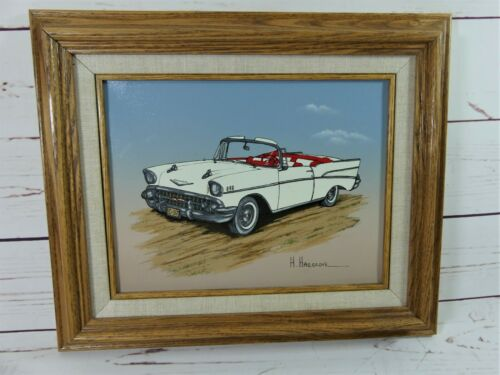 H. Hargrove 1957 Chevy Convertible Serigraph Signed Framed Rare