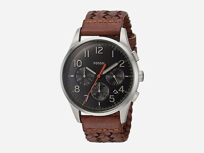 New Fossil Men's Sport 54 Chronograph Brown Leather Watch #FS5294