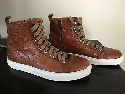 Donald J Pliner Lenio Crocodile-Embossed Leather High-Top Sneakers Size 9.5