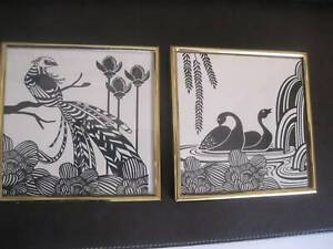 Pair Of Small Black White Prints Framed Home Decor Art Picture
